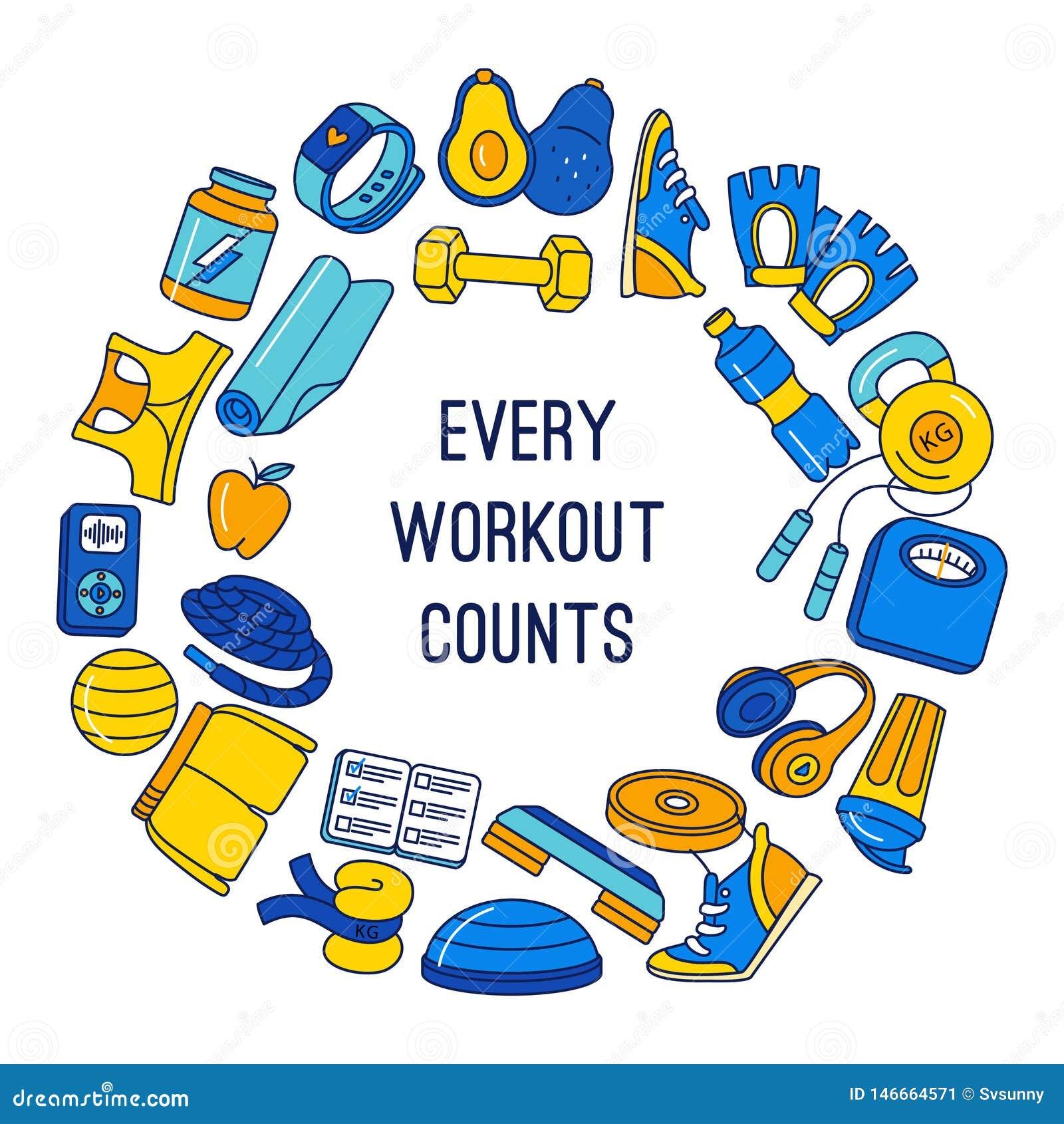Sport, sprawność fizyczna, czynnościowego stażowego tła doodle granicy ramy bezszwowy wzór