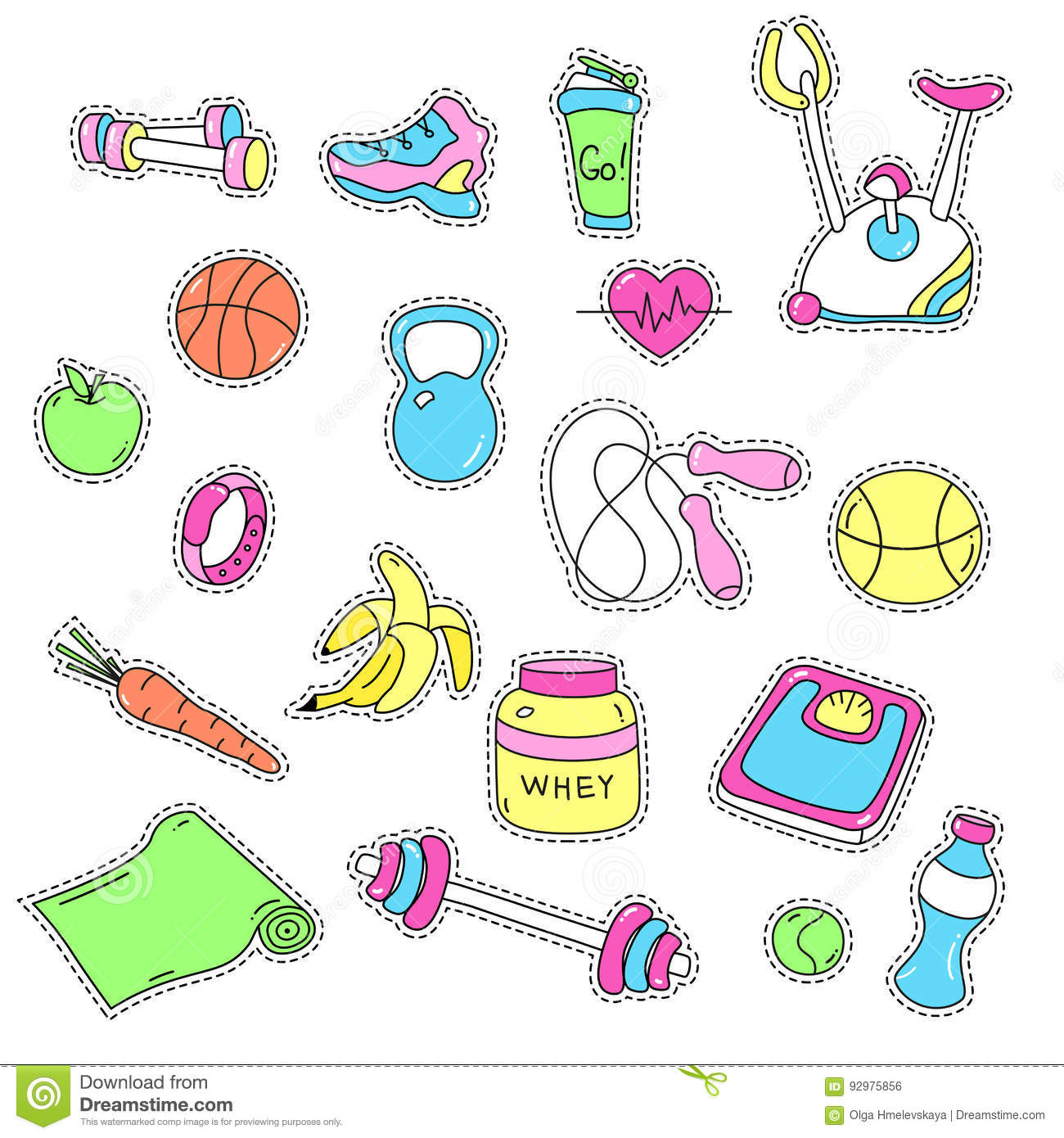 Sport Stickers Set Hand Drawn Fitness Patch Badges Stock Vector