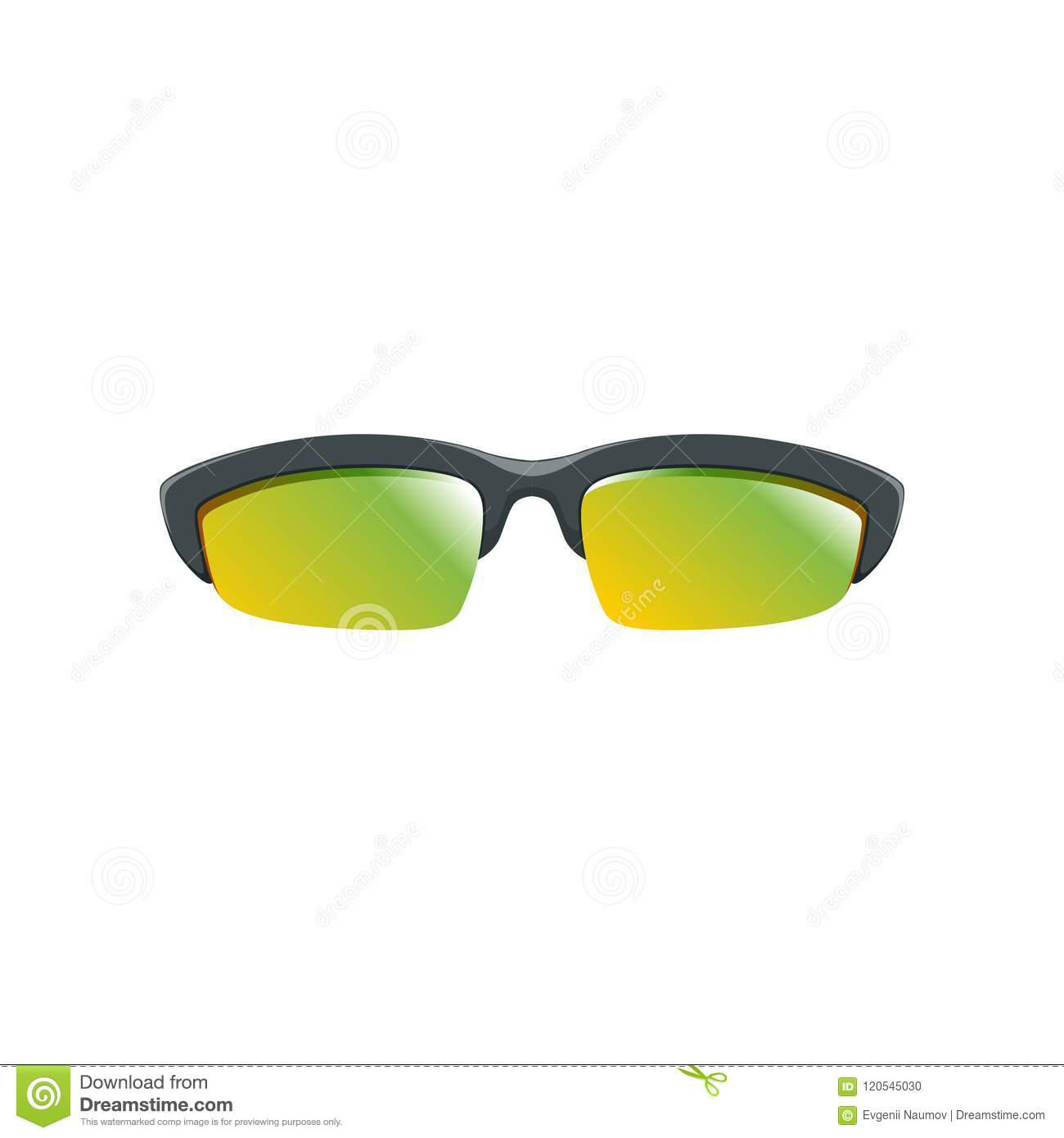 f34ff1e6526 Sport sunglasses with yellow-green polarized lenses and black half frame.  Cartoon style icon of protective eyeglasses. Accessory for men and women.  Colorful ...