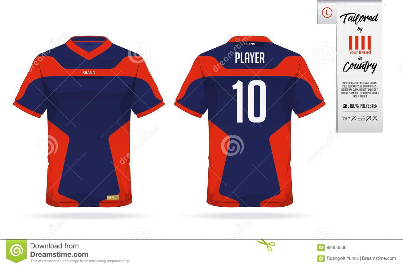 Sport T Shirt Or Soccer Jersey Template For Club Sportswear Mock Up