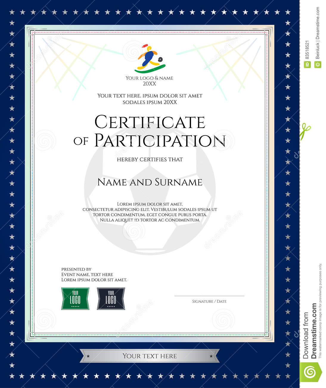 Sport Theme Certificate Of Participation Template Stock Vector