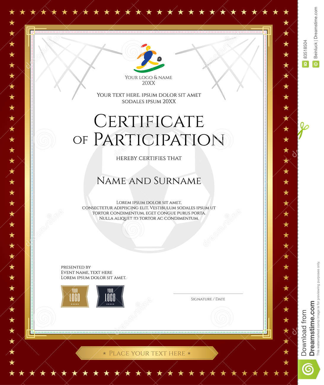 Sport Theme Certificate Of Participation Template Vector – Certificate of Participation Template