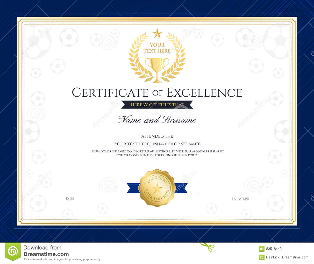 Sport Theme Certification Of Excellence Template Stock ...