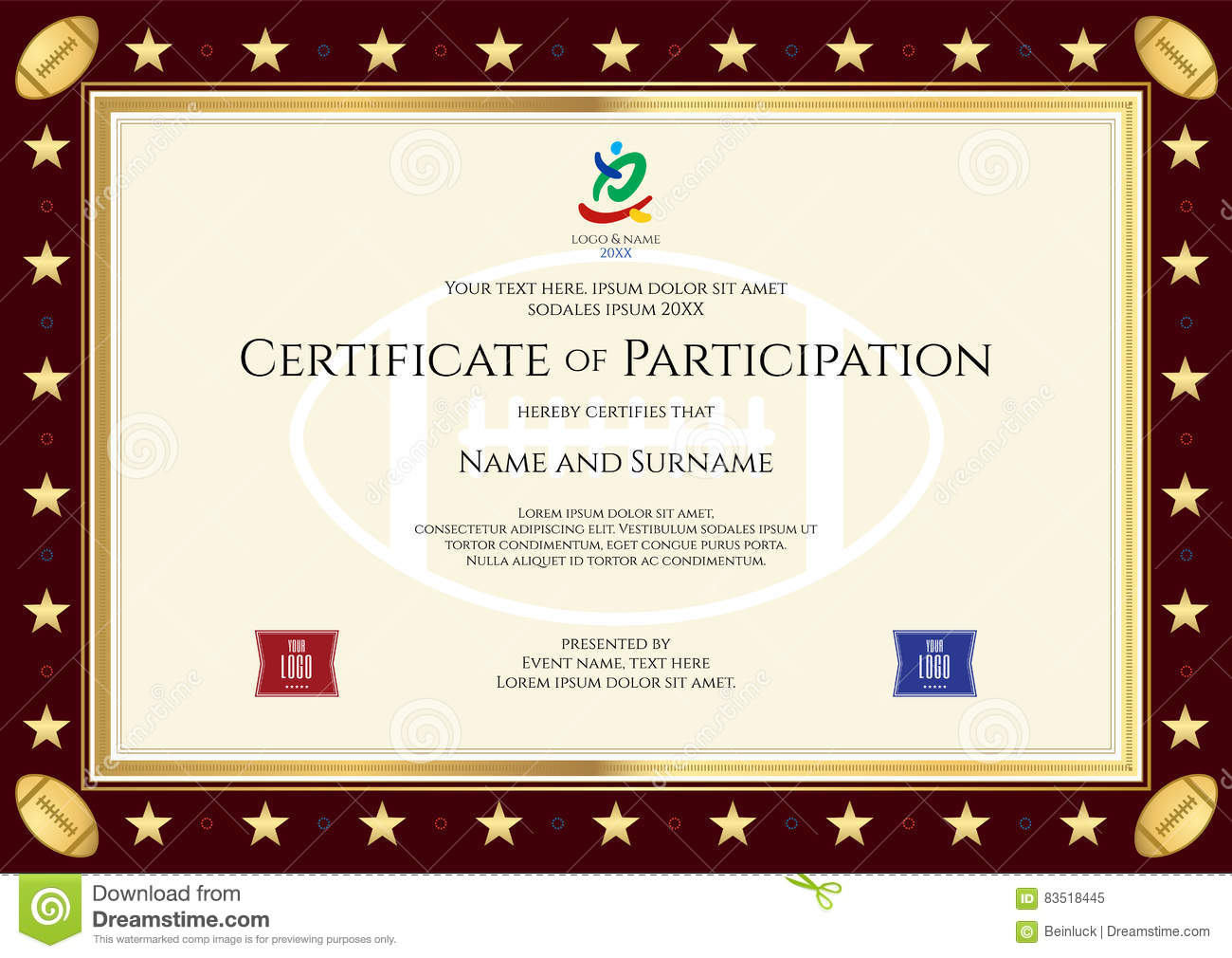 Sport Theme Certification Of Participation Template Vector – Certificate of Participation Template