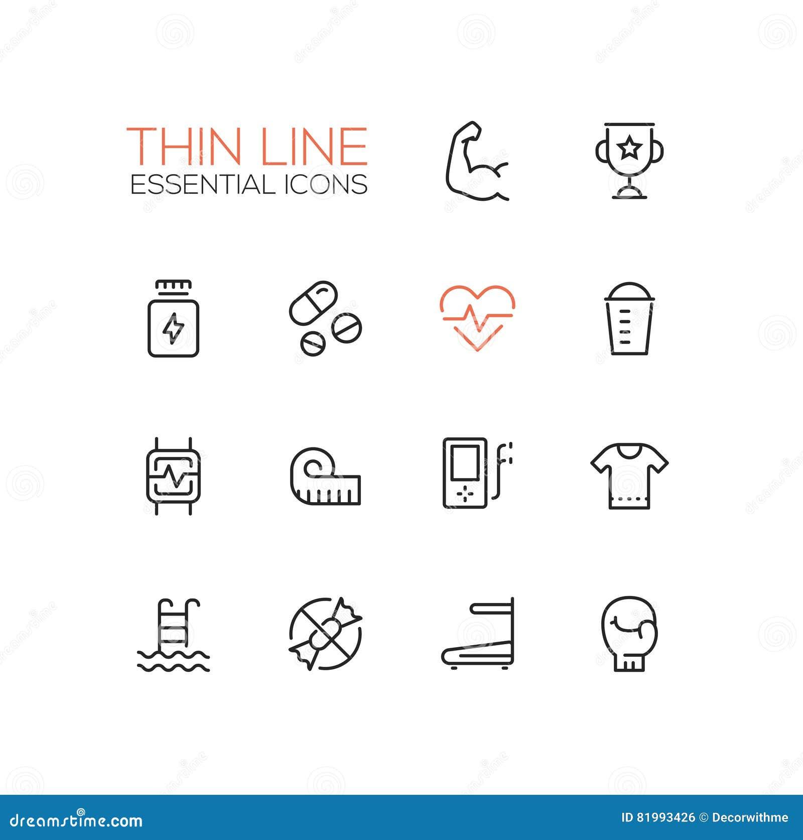 Sport Training - Thin Single Line Icons Set Stock Vector