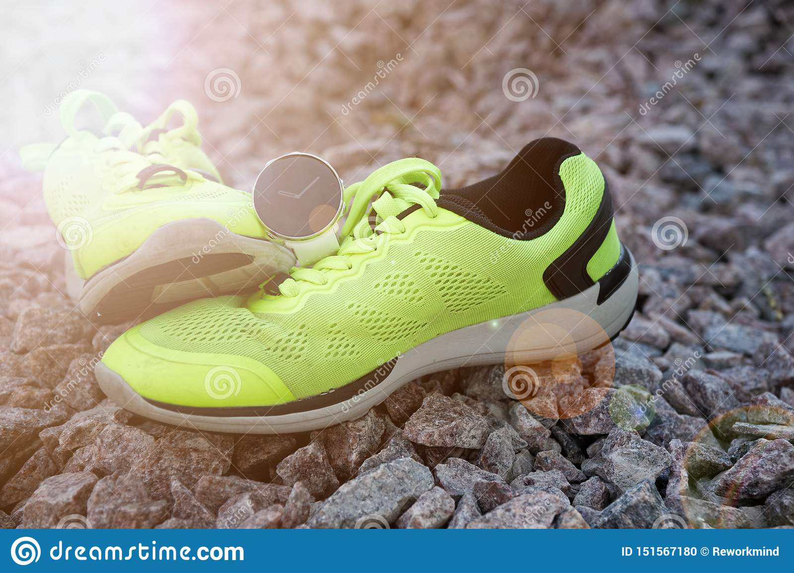 Sport Watch On The Yellow Running Shoes Smart Watch For