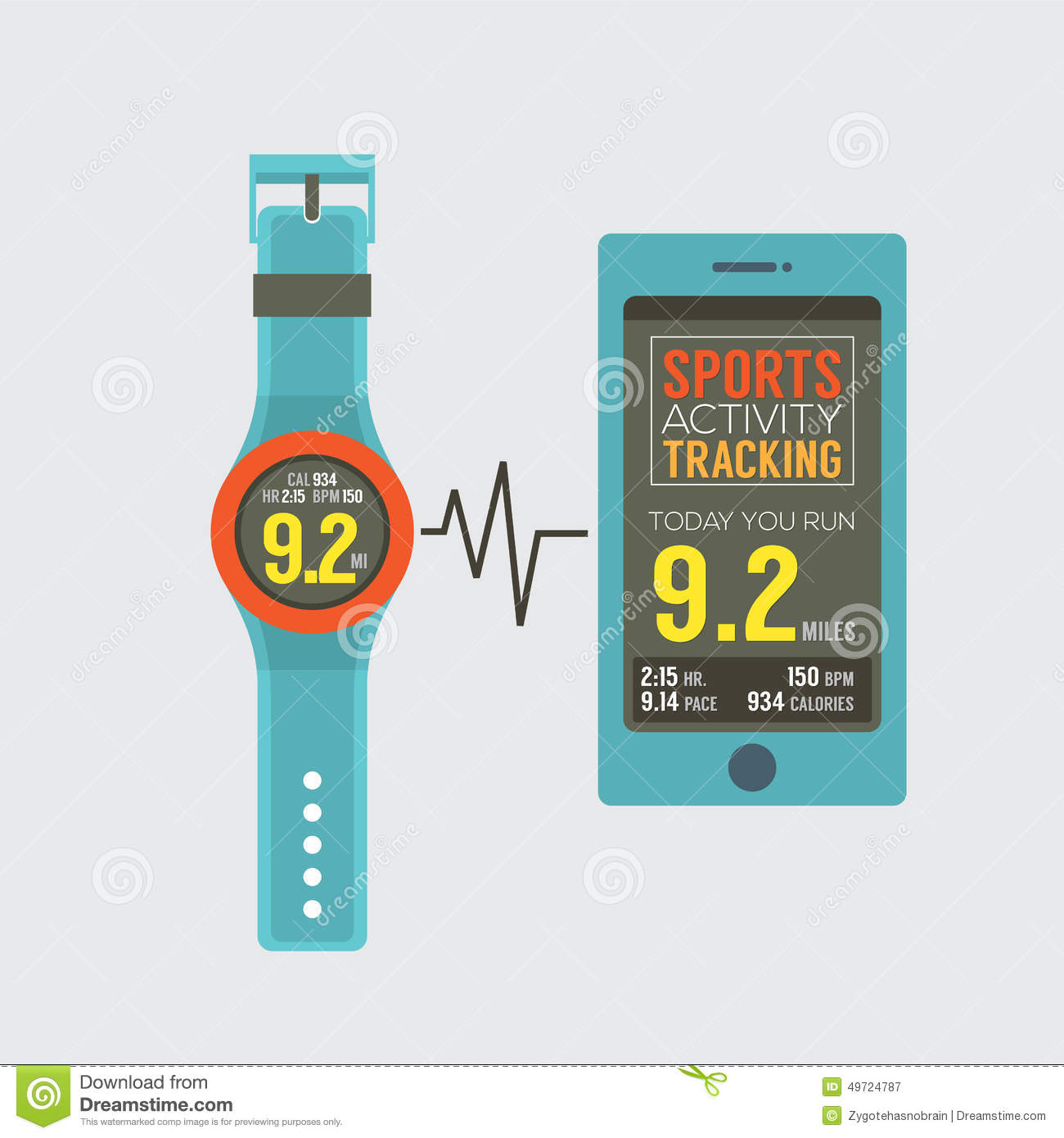 sport watch with smartphone activity tracking synchronize stock