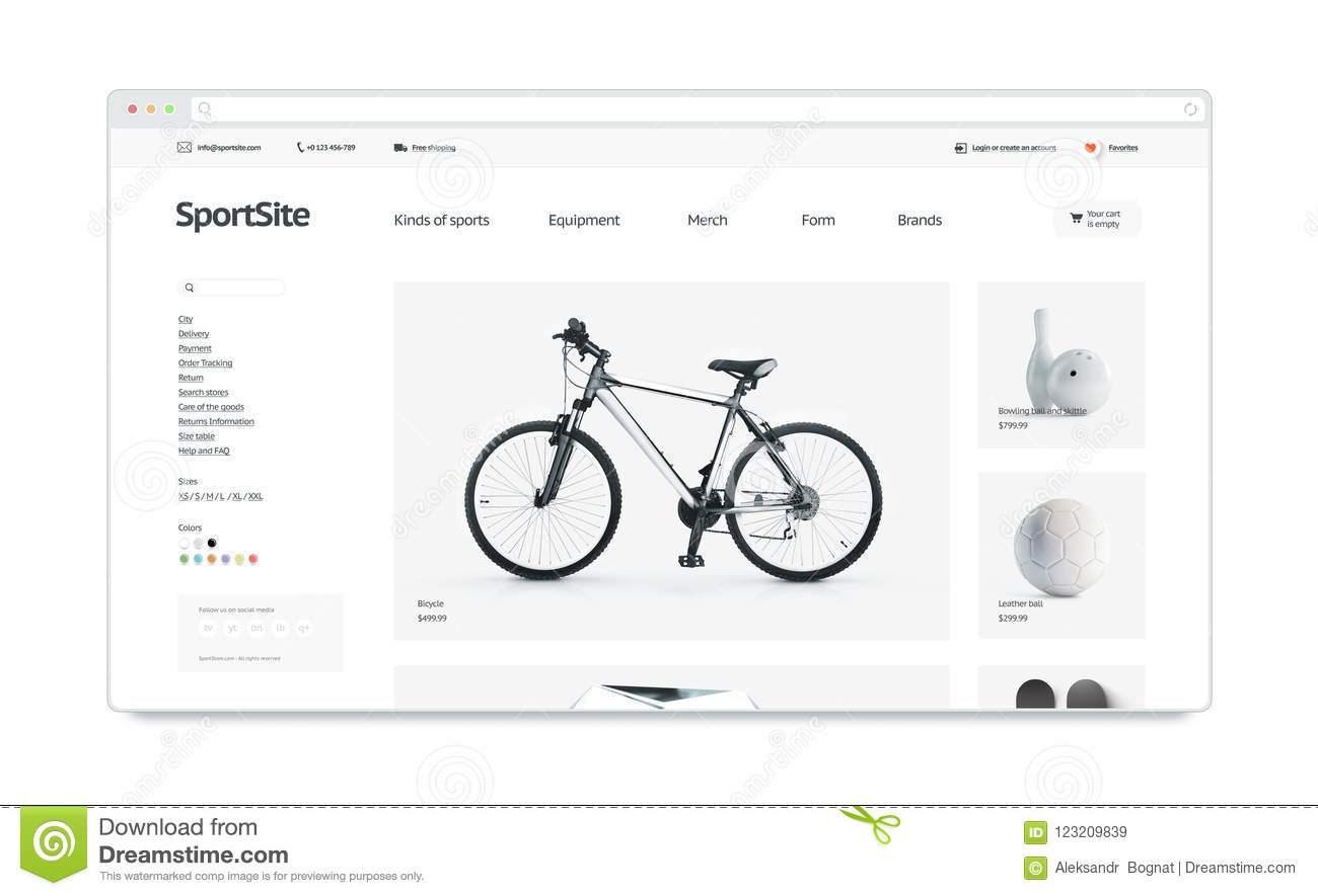 Sport webstore site template mock up isolated stock illustration sport webstore site template mock up isolated maxwellsz
