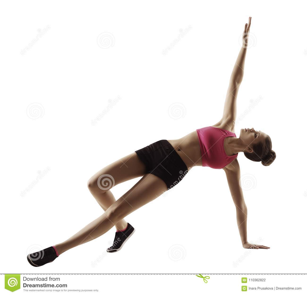 Sport Woman Fitness Plank Exercise, Aerobics Workout on White