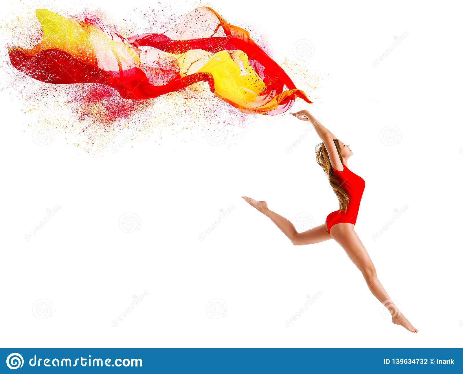 Sport Woman Jumping with Flying Cloth, Happy Gymnast Girl with Fluttering Fabric, Gymnastics