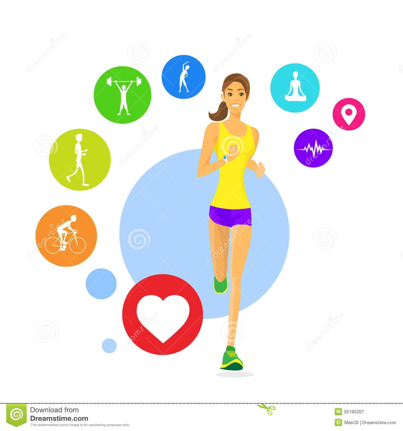 sport woman run fitness app tracker icons wearable stock