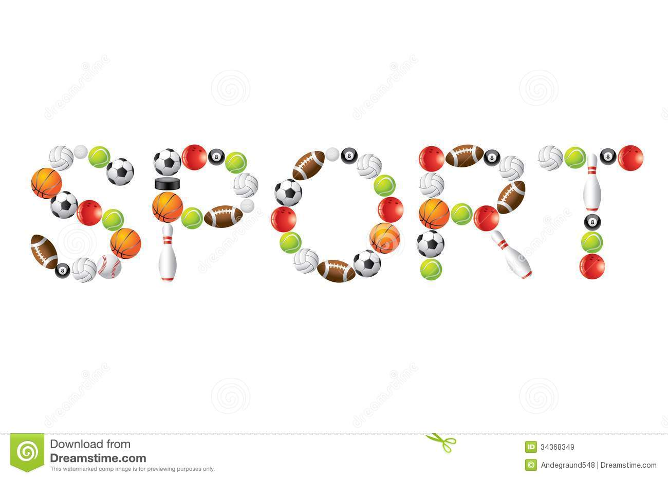 Sport Word From Balls Royalty Free Stock Images - Image: 34368349