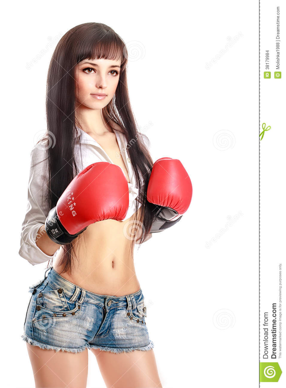 Sport Young Woman Boxing Gloves Isolated On White Stock ...