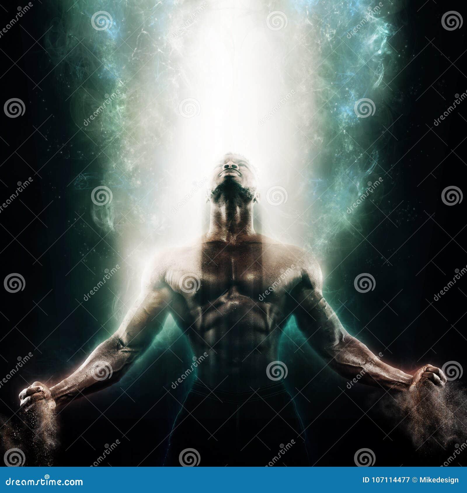 Sporta i motywaci tapeta na ciemnym tle Władza faceta sportowy bodybuilder Ogień i energia