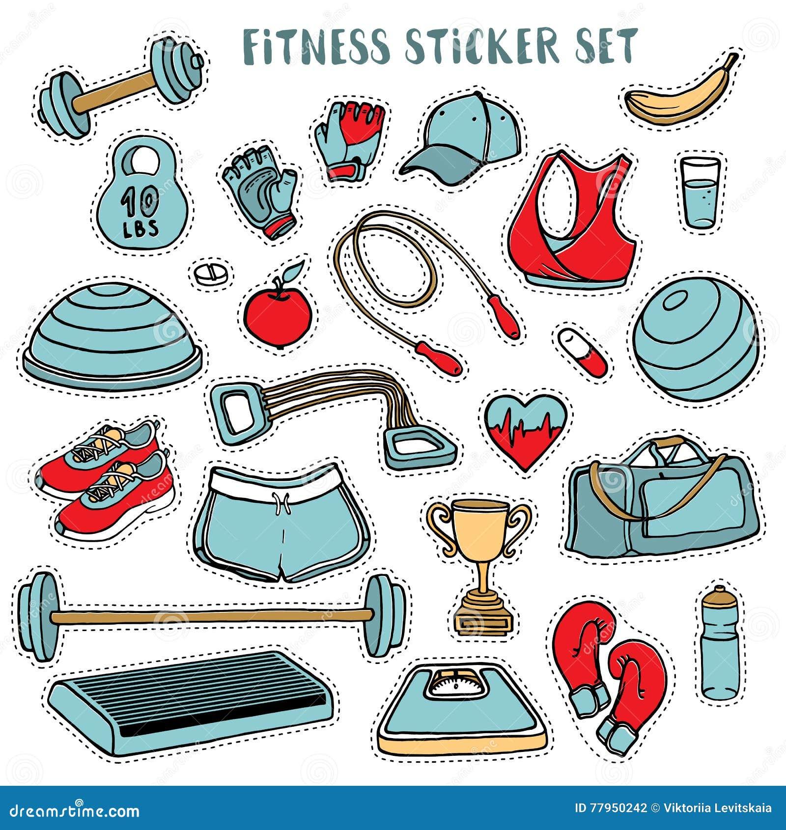 Sporta i sprawności fizycznej kolorowy majcher ustawiający ręka rysująca doodles