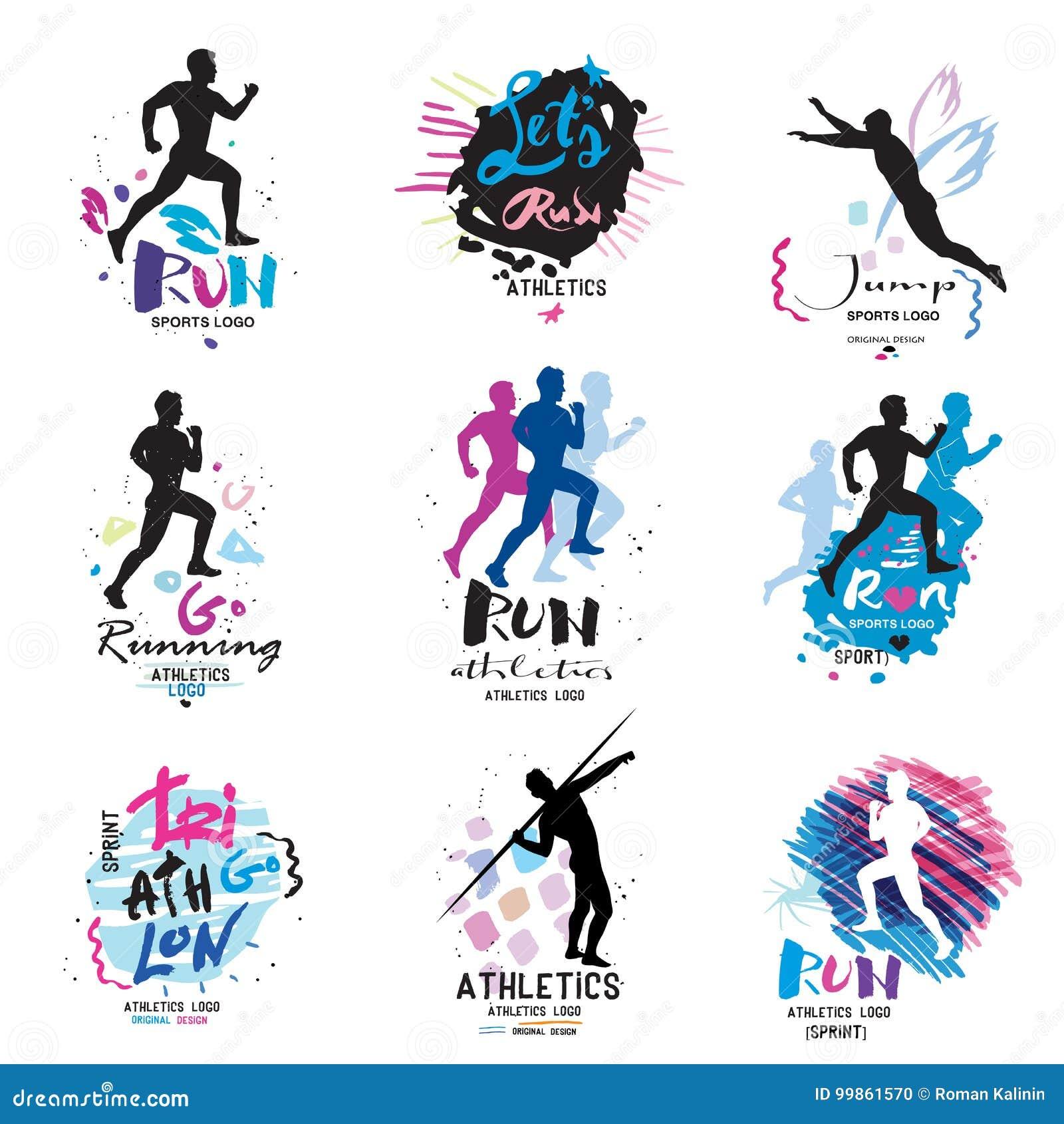 Sporta logo, logotypu sport Biegać, maratonu logo i ilustracje,