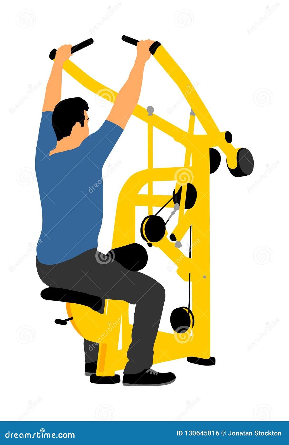 Sporta mężczyzna ćwiczy w gym na sprawności fizycznej maszynie odizolowywającej na białym tle Wielo- czynnościowy gym wyposażenie
