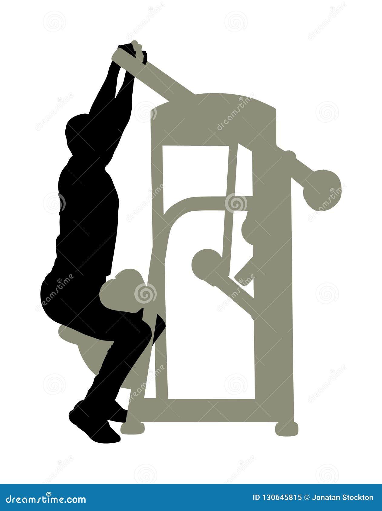 Sporta mężczyzna ćwiczy w gym na sprawności fizycznej maszynowej sylwetce odizolowywającej na białym tle Wielo- czynnościowy gym
