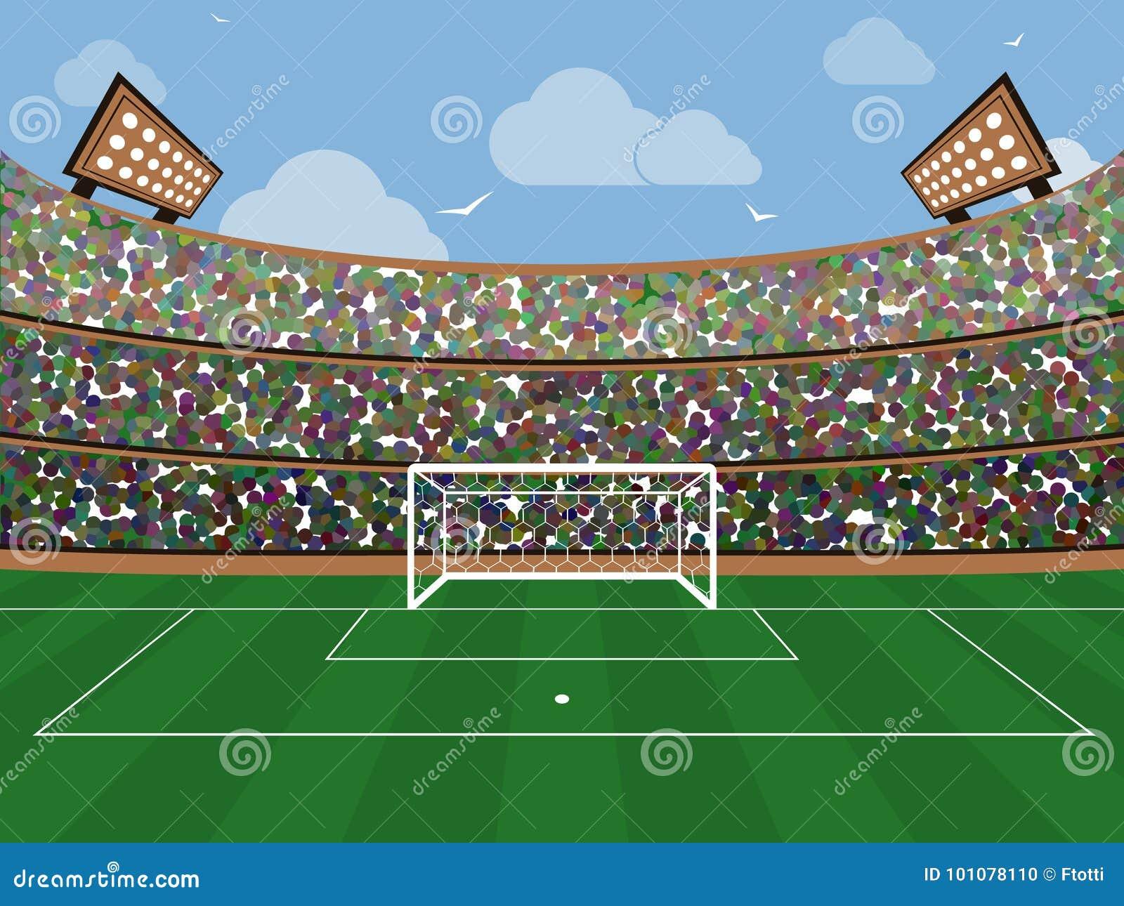 Sporta stadium z piłka nożna celu siecią, zieloną trawą, trybunami, fan i niebieskim niebem z chmurą, Footbal arena Mieszkanie st