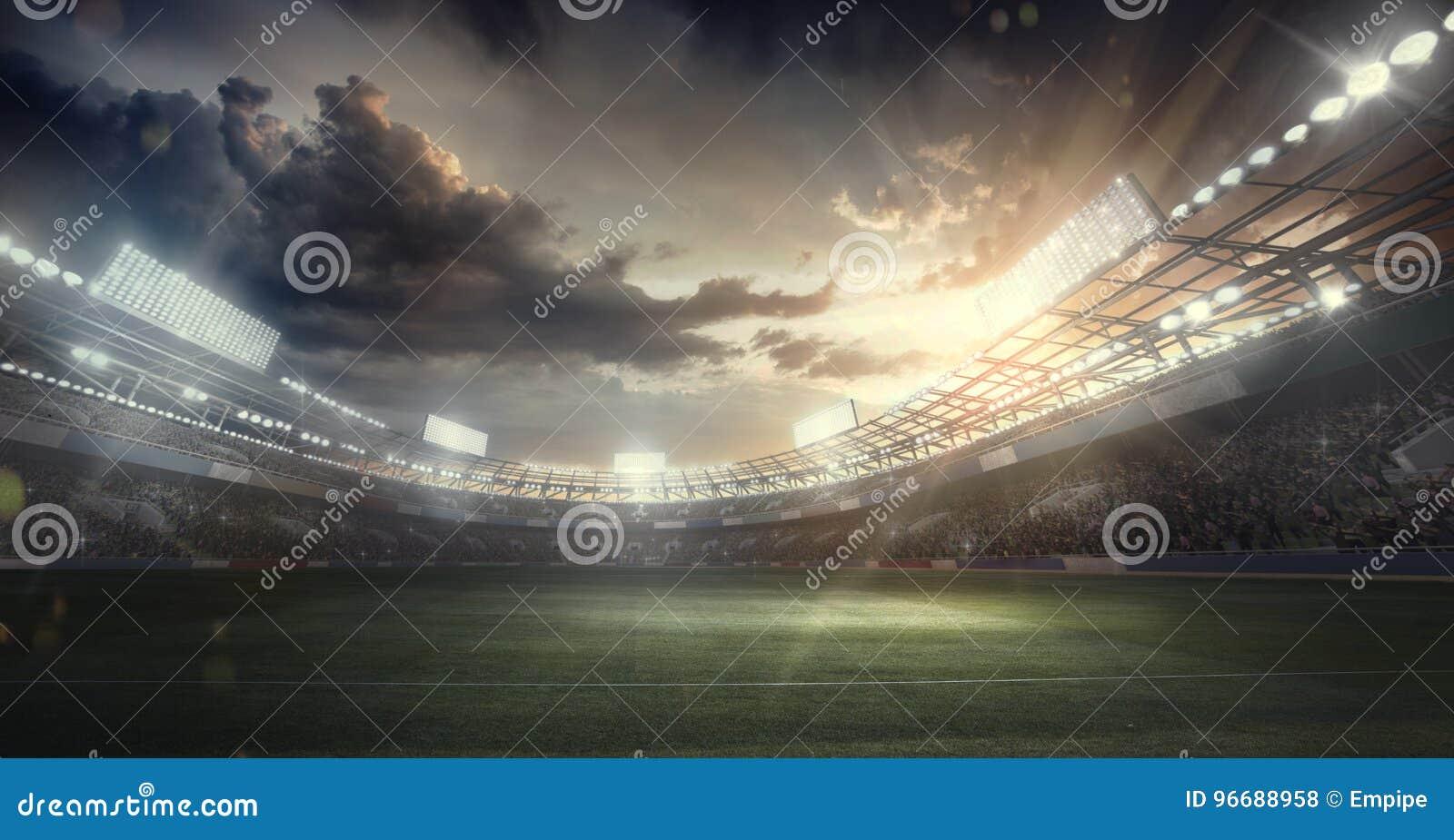Sportachtergronden voetbal stadium 3d geef terug