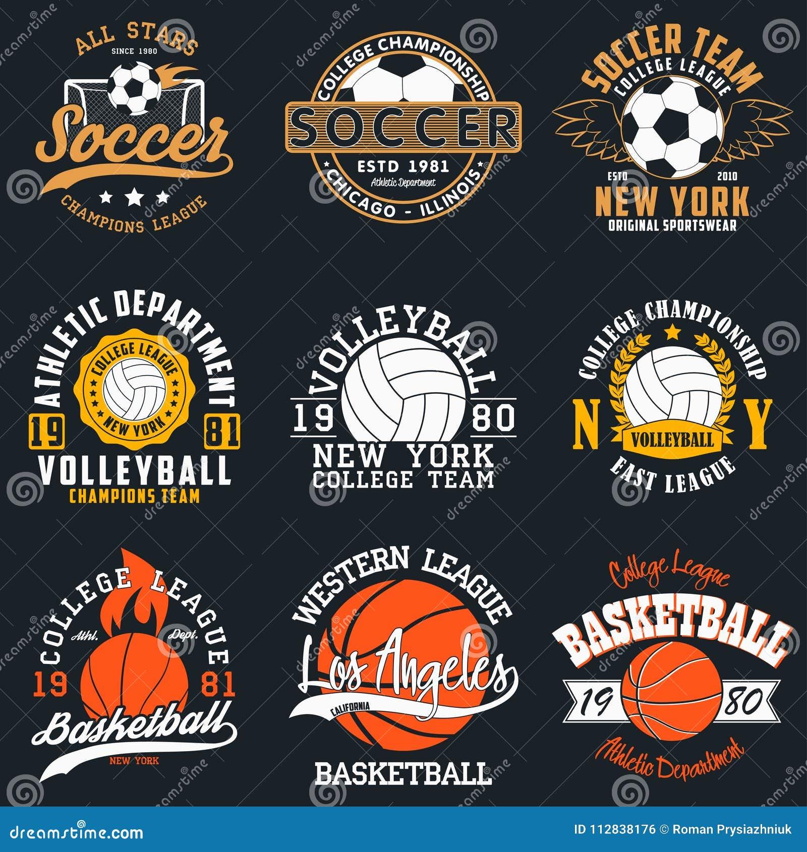Sportar spelar typografi - fotboll, volleyboll och basket Uppsättning av det idrotts- trycket för t-skjorta design Diagram för sp