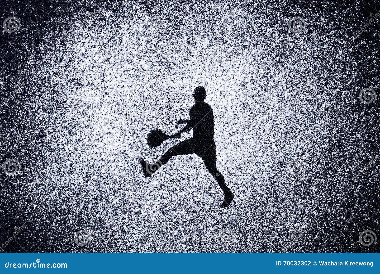 Sportconcept, vorm van de mens in actie door poeder Een deel van een tenni