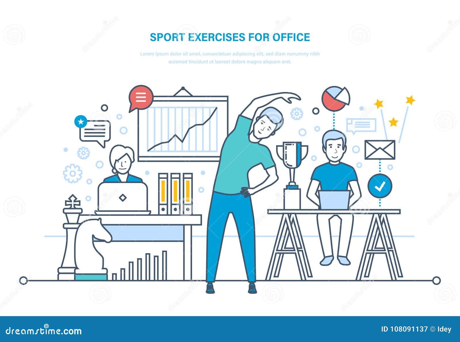 Sporten övar för kontor Göra sportar, utbildning, sund livsstilidrottsman nen