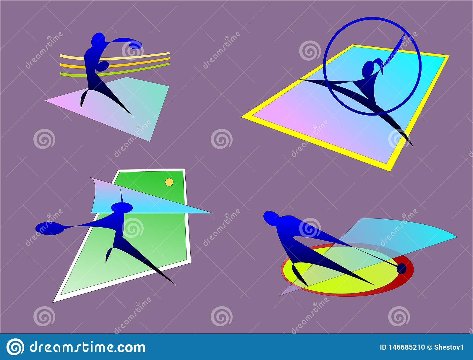 Sporten, gymnastiek- in dozen doen, hamer, tennis