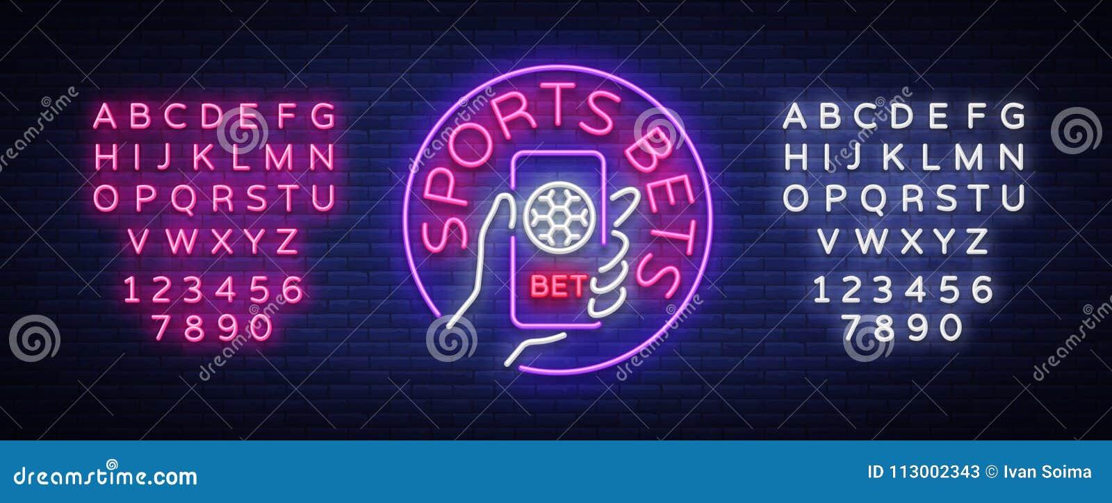 Sporten het wedden is een neonteken Ontwerpmalplaatje, het embleem die van de Neonstijl, heldere banner, nacht, smartphone in uw