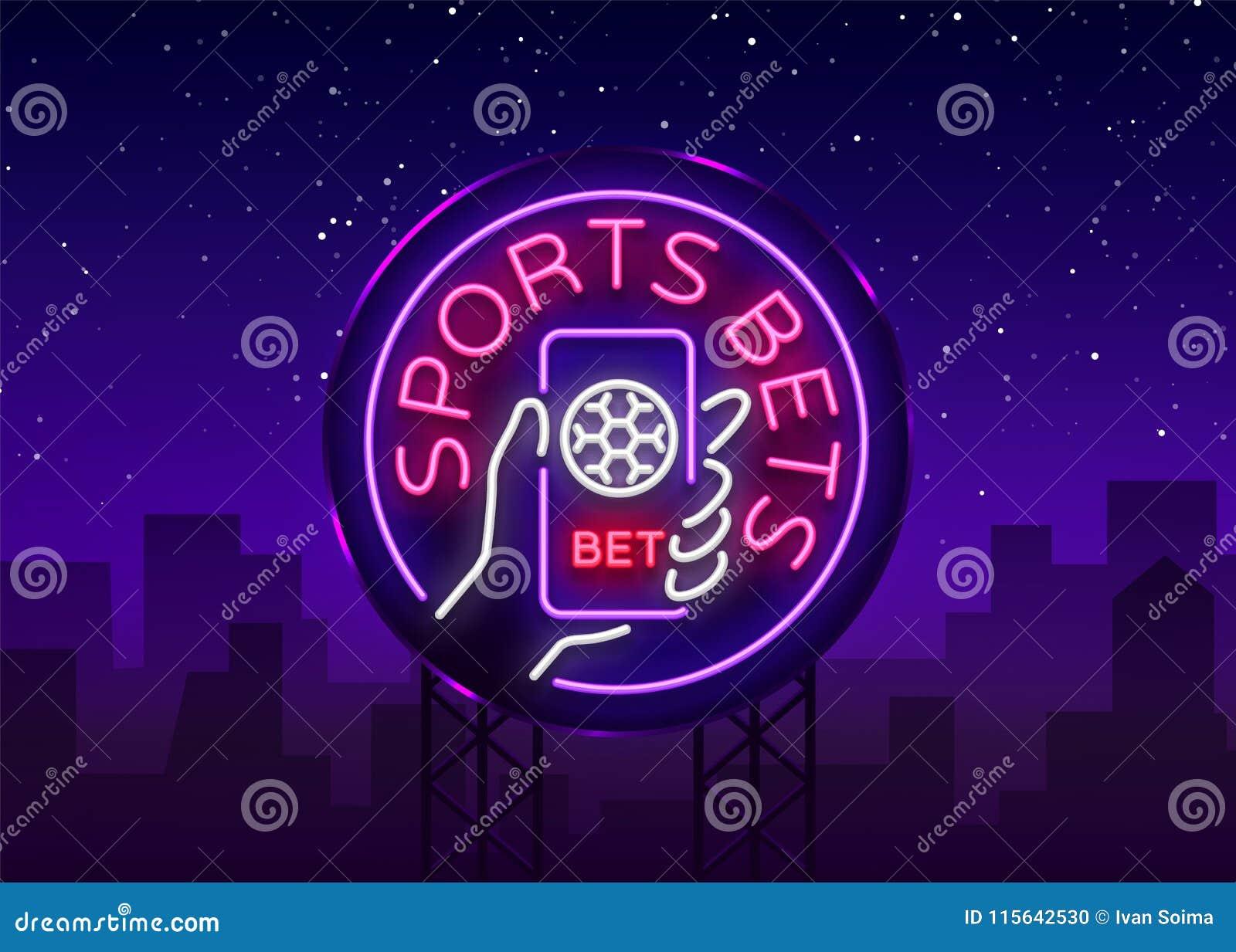 Sporten het wedden is een neonteken Ontwerpmalplaatje, het embleem die van de Neonstijl, heldere banner, nacht voor uw projecten