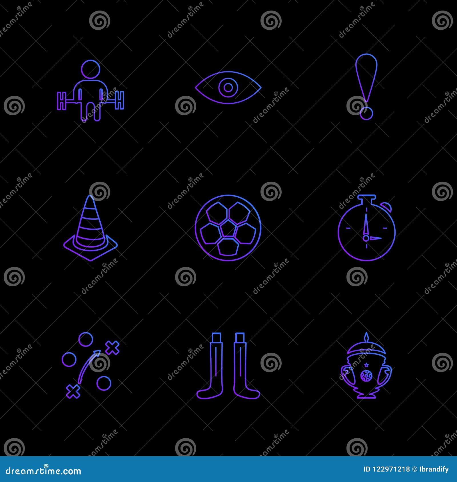 Sporten, spelen, atheletes, ballen, fitness, eps geplaatste pictogrammen vec