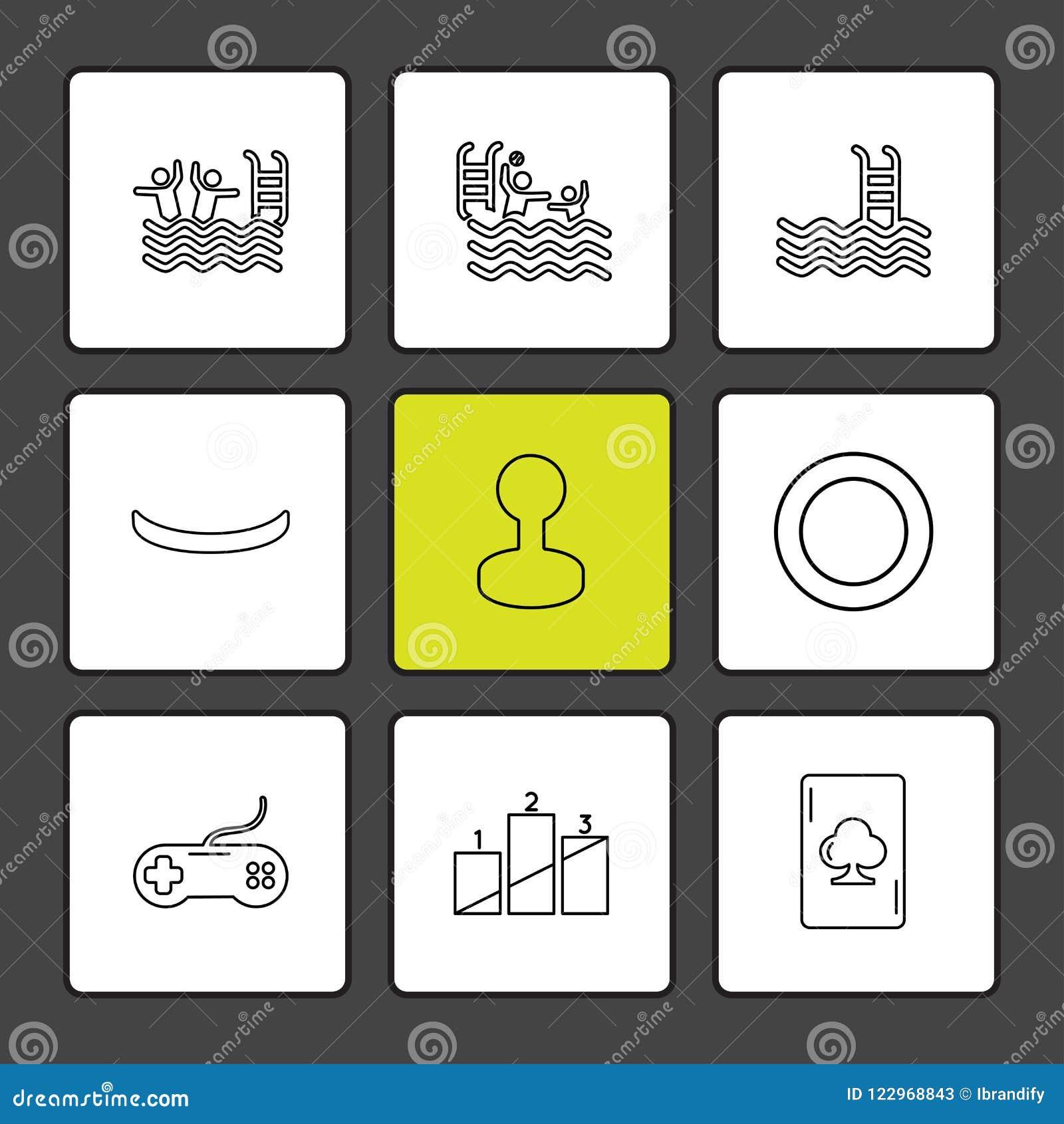 Sporten, spelen, de zomer, strand, eps pictogrammen geplaatst vector