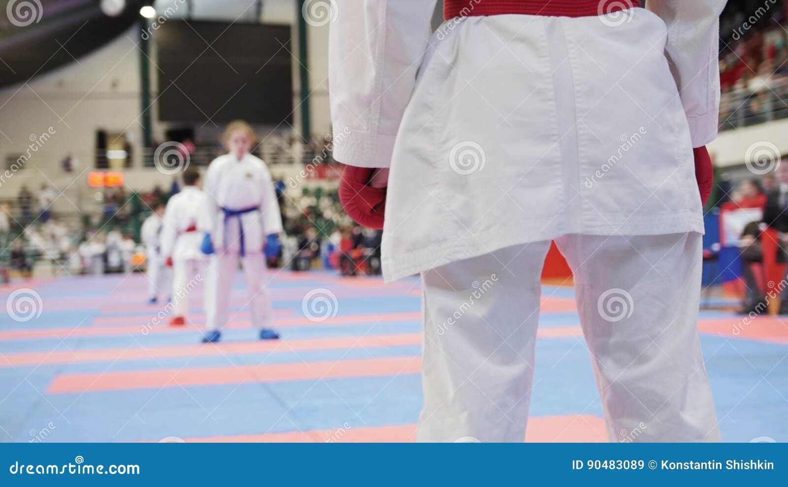 Sportenjonge geitjes - vrouwelijke sportmannen op karate - klaar voor strijd