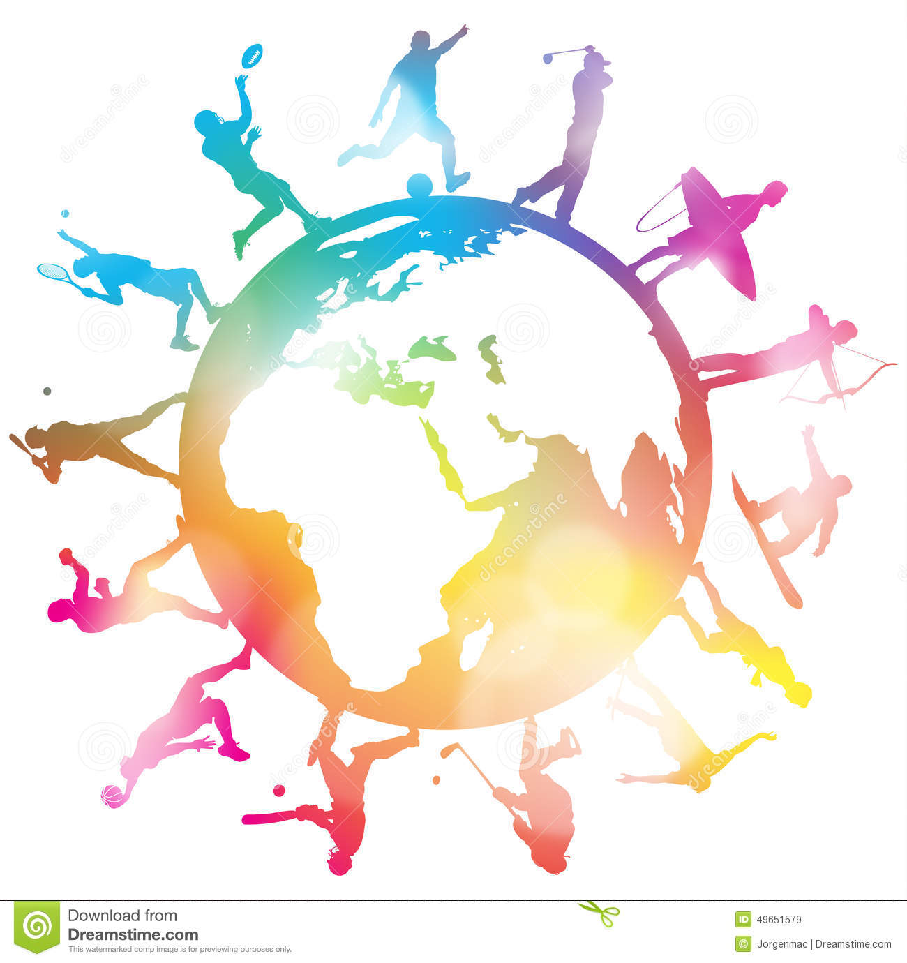 Sporting Globe Silhouettes Stock Vector Image 49651579