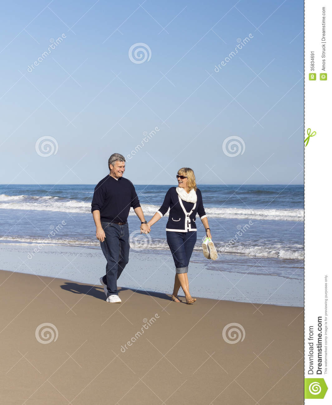 Couple At The Beach Stock Image Image Of Caucasian: Sportive Mature Couple Walking Along The Beach Stock Image