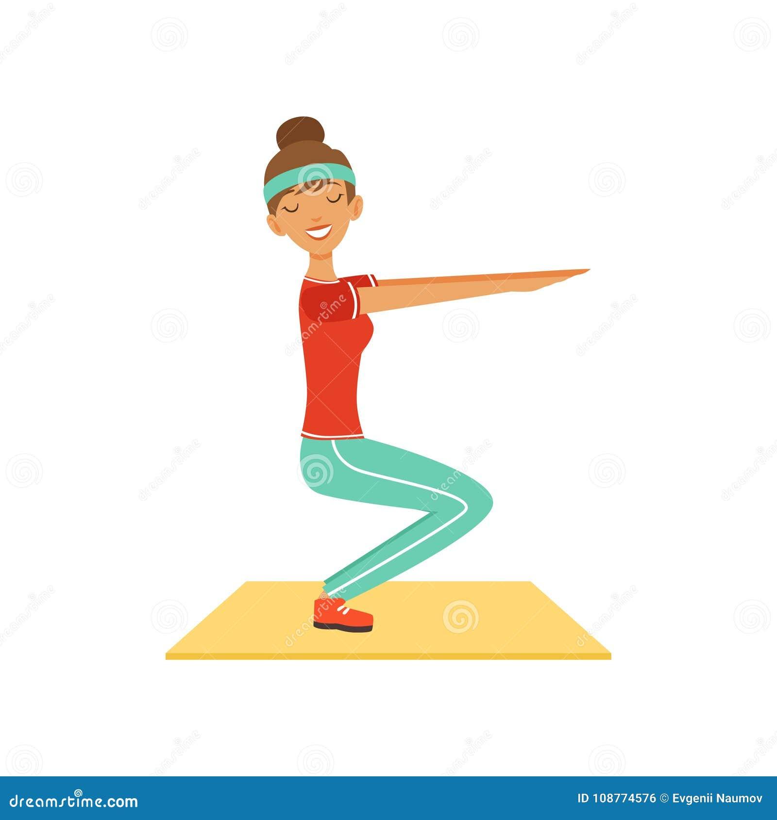 Sportive tecken för ung kvinna som gör squats, flicka som utarbetar i konditionklubban, eller färgrik vektorillustration för idro