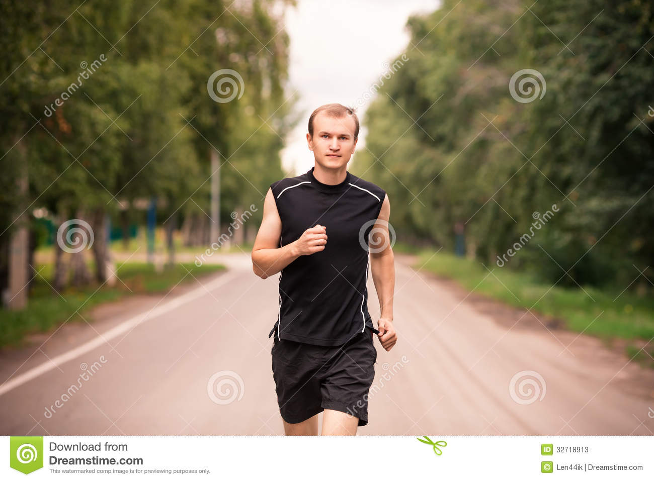 394cd08707a9 Sportive Young Man Jogging Outdoor Stock Image - Image of headphones ...