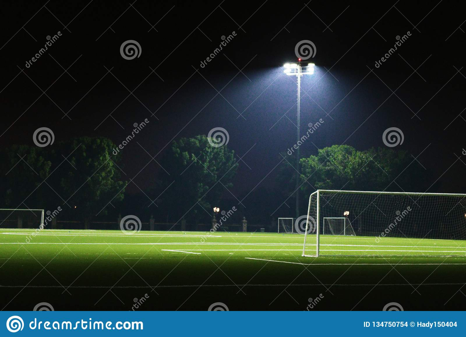 Sportjordning exponerad under ljus i natten