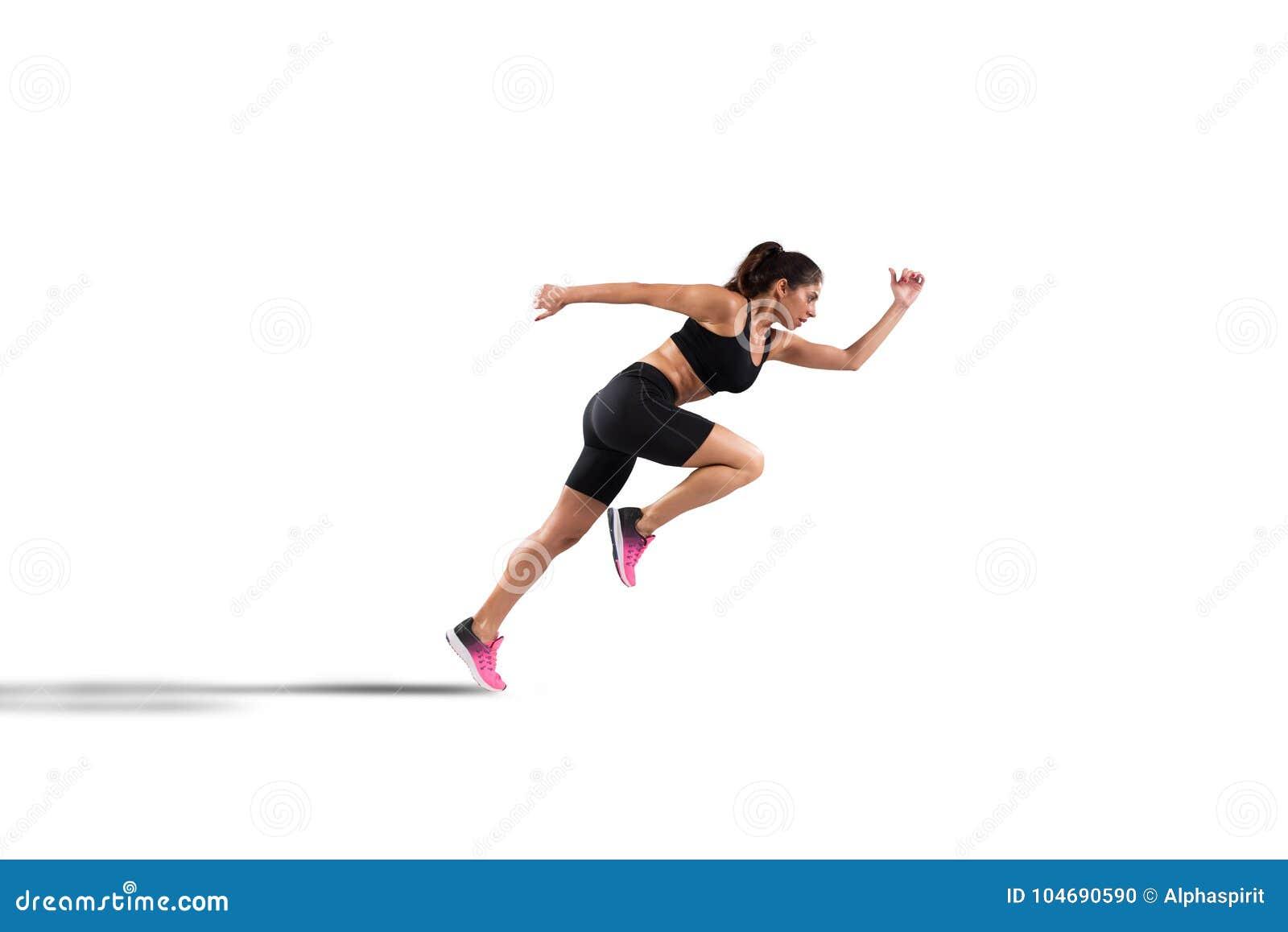 Sportowy kobieta biegacz odizolowywający na białym tle
