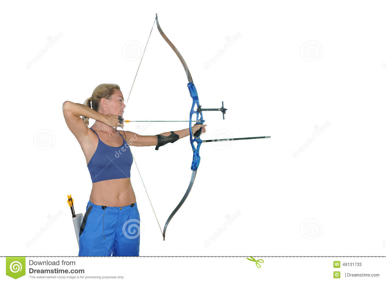 Sports archery - Woman aiming with recurve bow studio white background ...