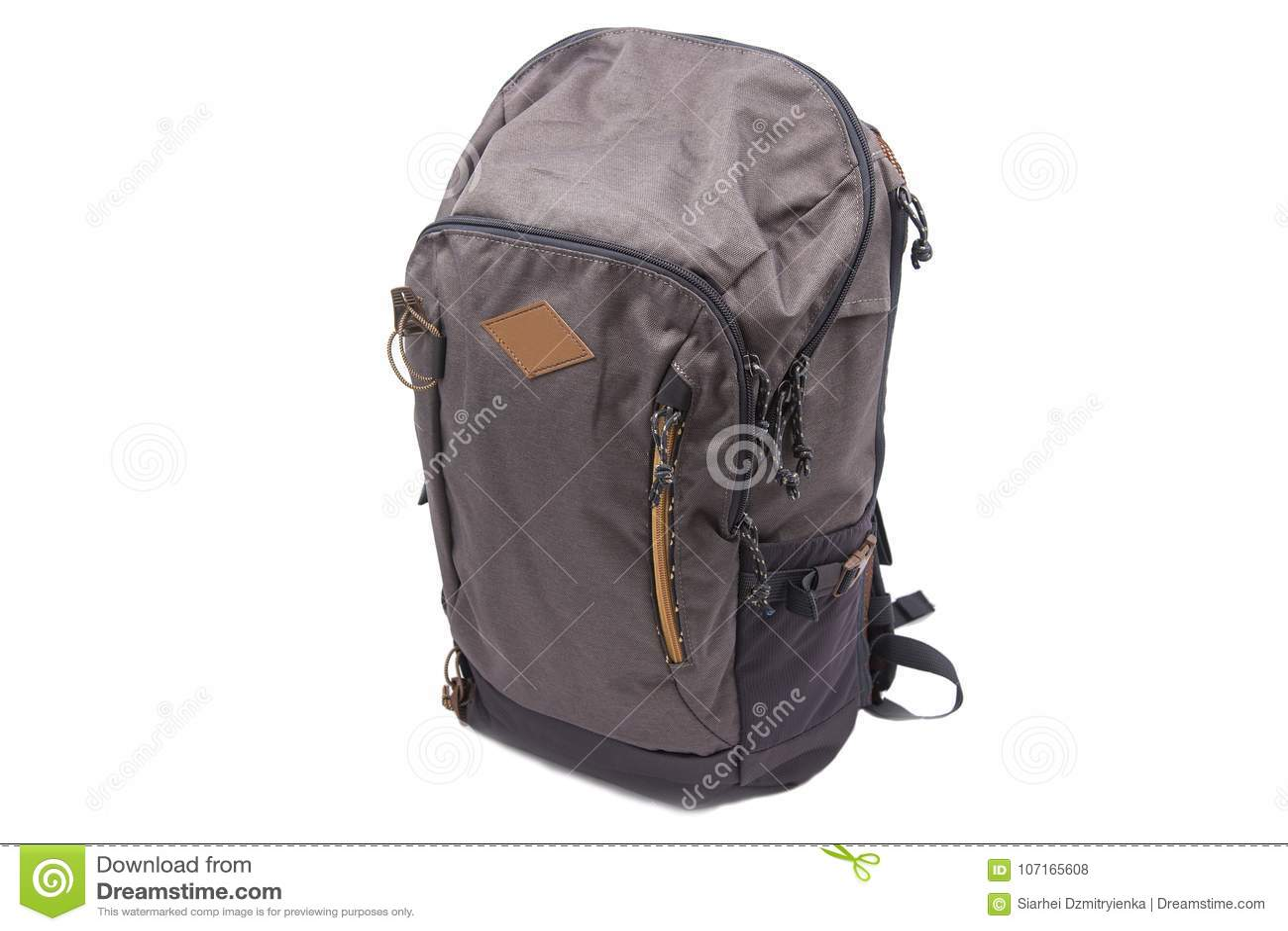 d91f14ac076ea2 Sports backpack for hiking treks isolated on white background. Traveler`s  bag.