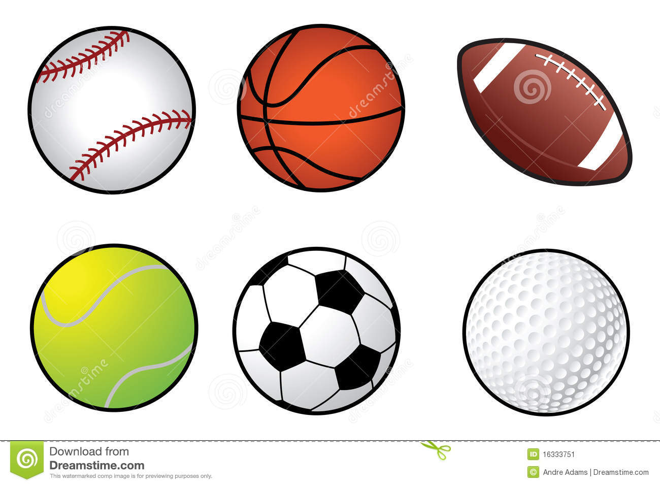 Sports Ball Collection Stock Vector Illustration Of Basketball 16333751