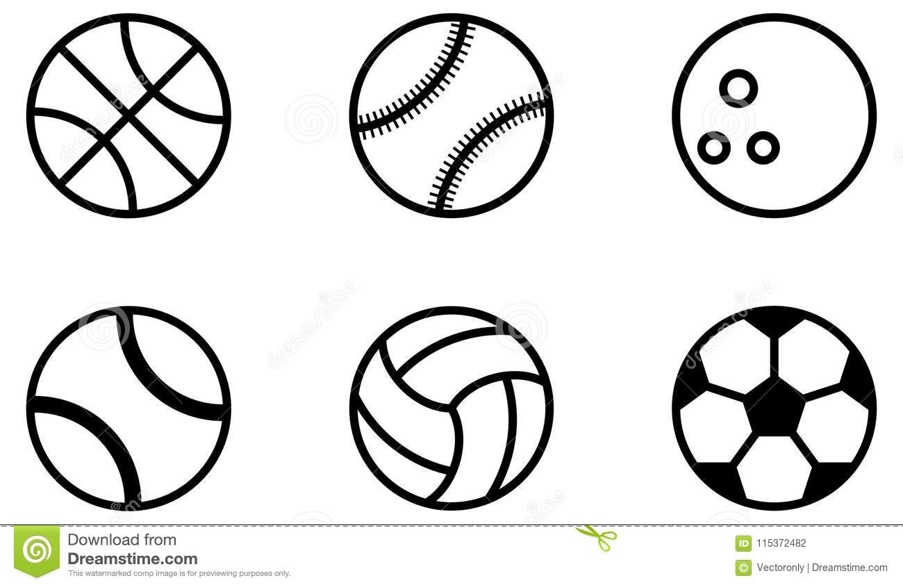 outline ball sports balls vector icons simple baseball background illustration preview