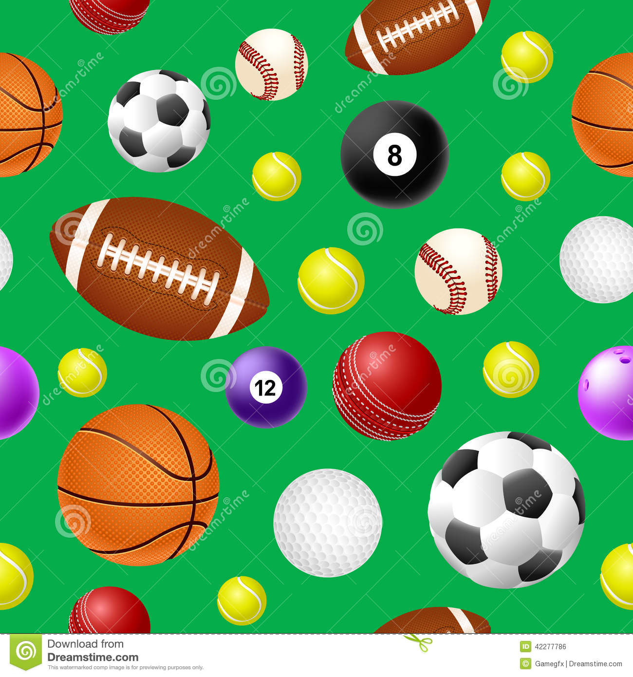 Sports Ball Seamless Pattern On Green Background Royalty Free Stock Image