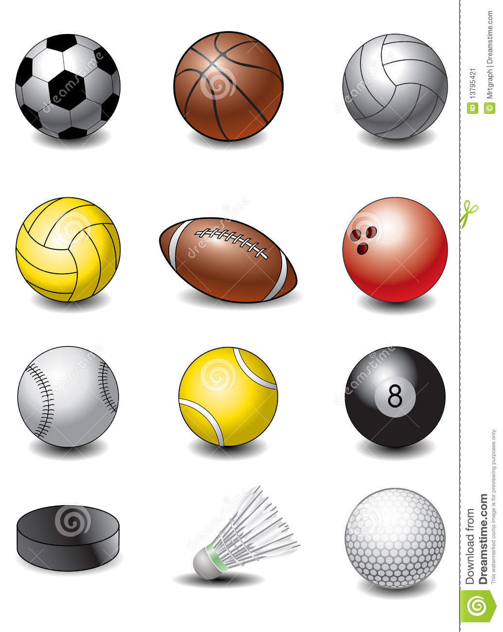 Balls played in various sports displayed together and on a white ...