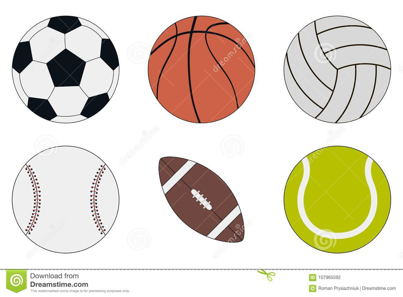 Sports Balls icon set - soccer, basketball, volleyball, baseball, american football and tennis. Vector.