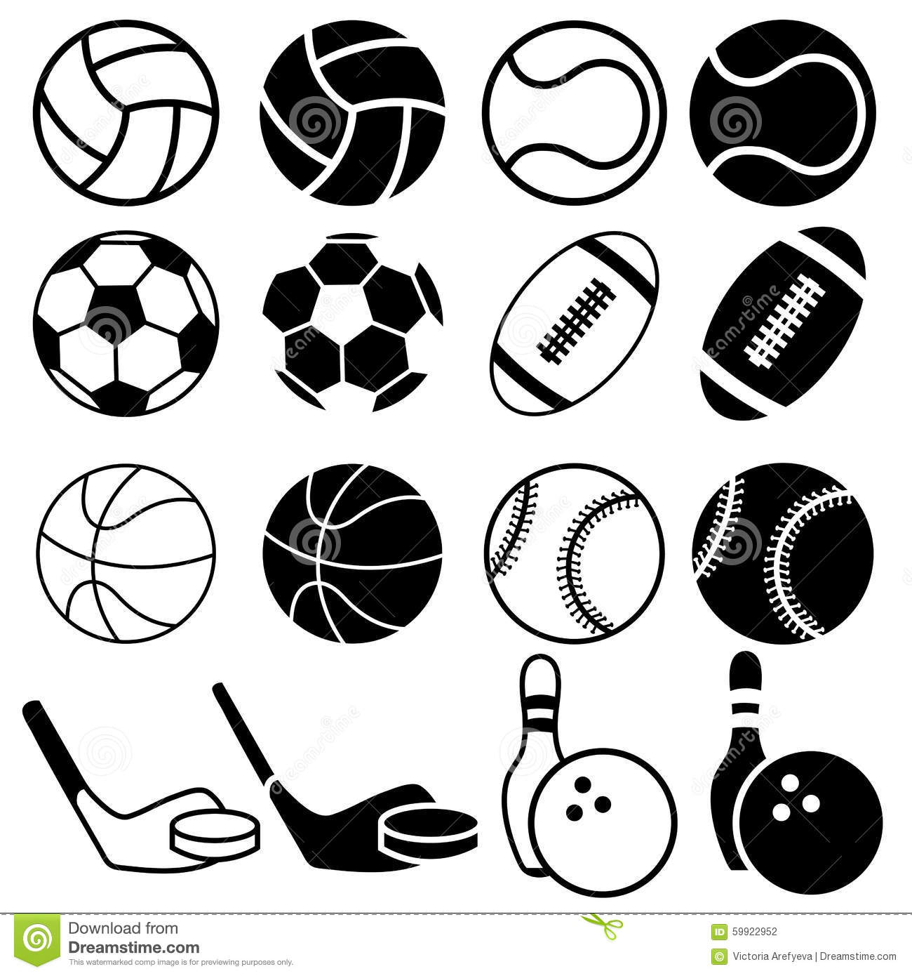 sports balls vector silhouettes icons illustration sport equipment ball table different tennis background