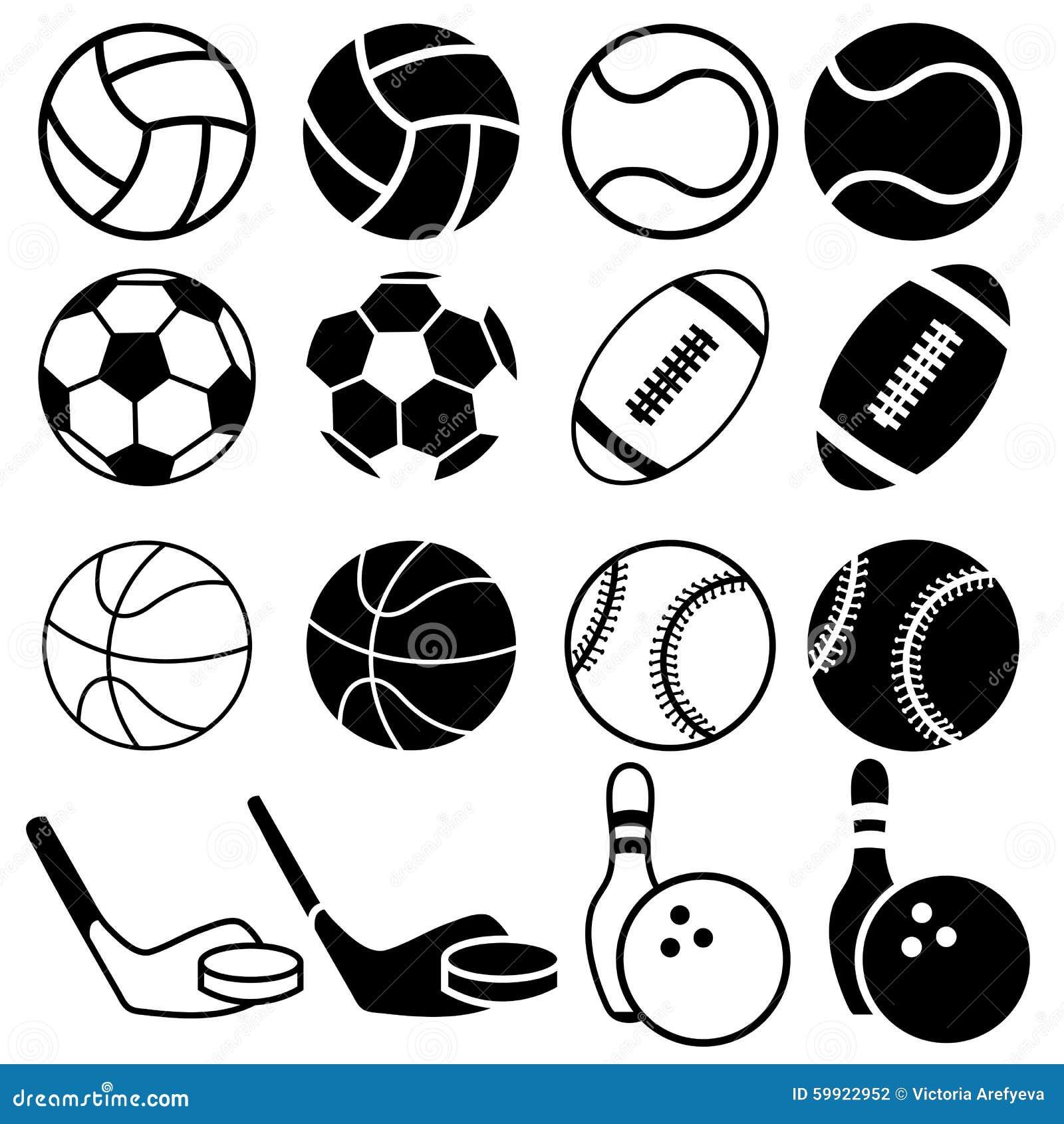 Sports Balls icons. stock illustration. Image of black ...