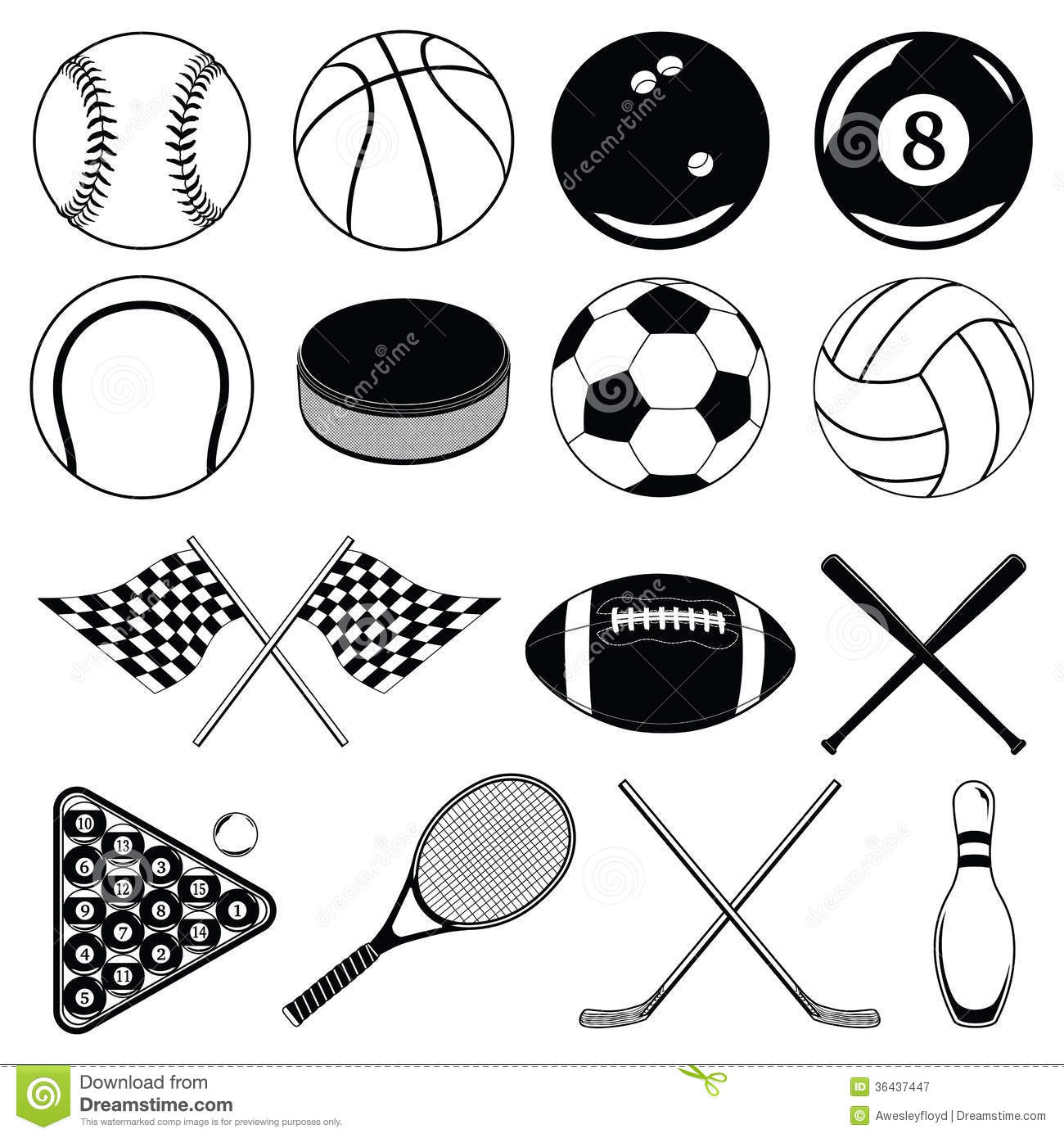 sports balls and other items stock vector illustration of equipment bats 36437447. Black Bedroom Furniture Sets. Home Design Ideas