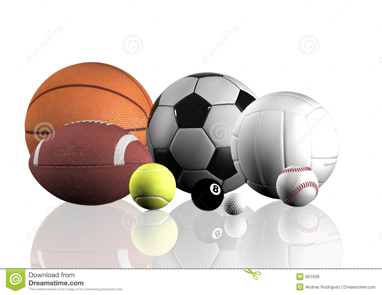 Abstract Sports Background Royalty Free Stock Image: Sports Balls Over White Royalty Free Stock Photos